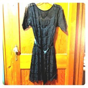 Motherhood maternity black lace formal dress sz M